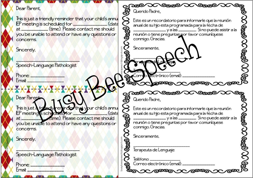 parent letters for speech therapy in english  u0026 spanish